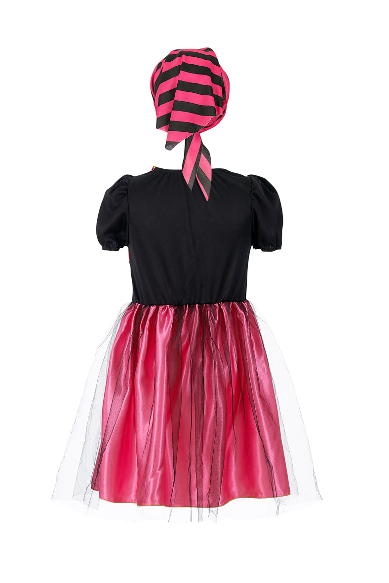 Angelica dress + scarf, pink-black