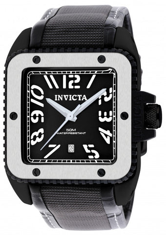 Invicta Men's 1457 Cuadro Quartz 3 Hand Black Dial  Watch