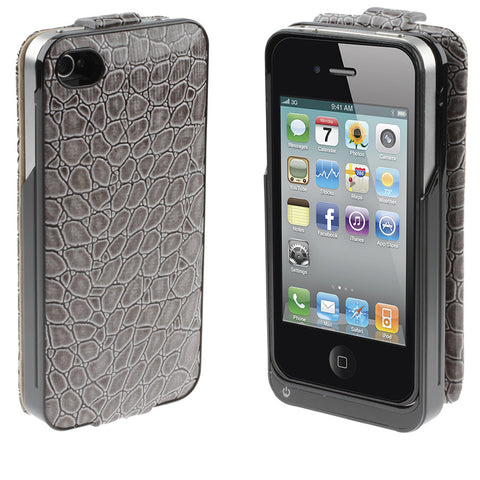 Iphone 4S Battery Case White Crocodile