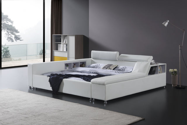 Greatime B2008 Modern Platform Bed with Sideboard Storage and Adjustable Headboard