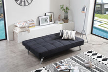 Load image into Gallery viewer, Linen Fabric Sleeper, Black Futon, Sleeping Sofa Bed, Armless Sleeper