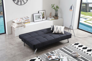 Linen Fabric Sleeper, Black Futon, Sleeping Sofa Bed, Armless Sleeper