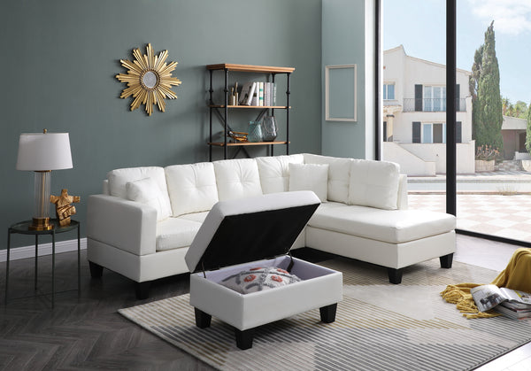 Greatime S2501 Reversible Vinyl Sectional Sofa W/ Storage ottoman