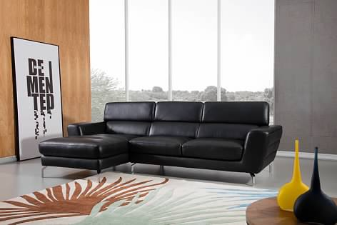 Greatime S2203 Top Grain Genuine Leather Sectional Sofa