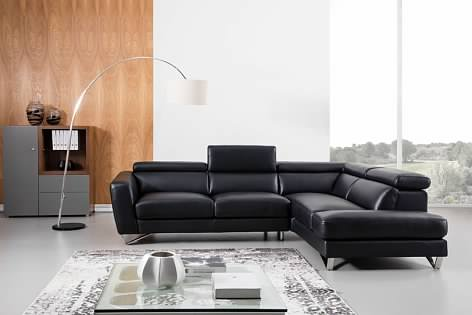 Greatime S2201 Top Grain Genuine Leather Sectional Sofa with Adjustable Headrest