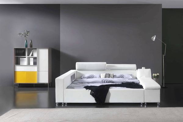 Greatime B2008 Modern Platform Bed with Siderail Storage (More Colors Available)