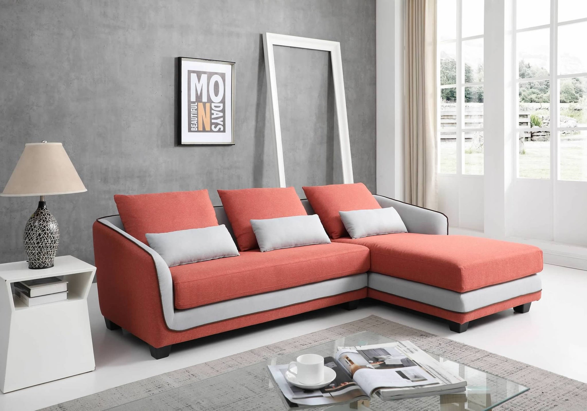 Greatime S2608 Moden Fabric Section Sofa