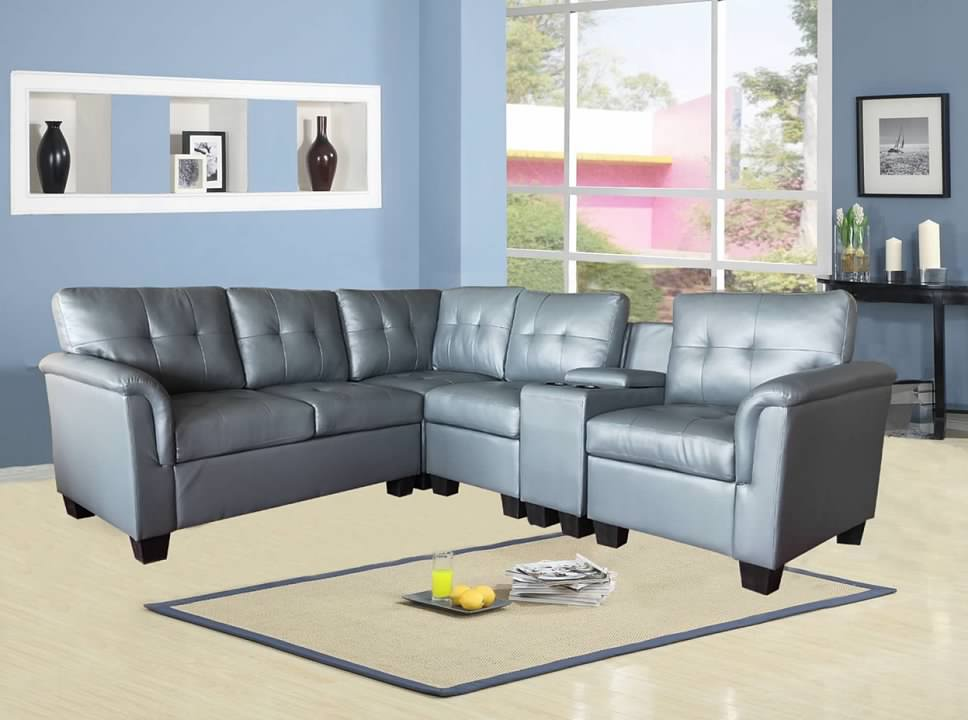 Greatime S2304  Vinyl Sectional Sofa (More Colors Available)