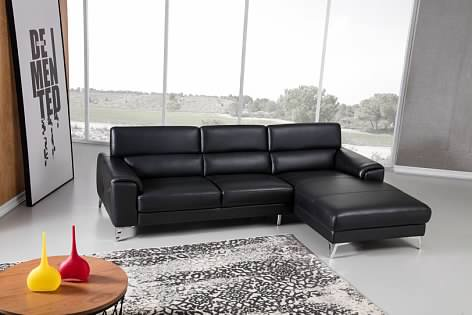 Greatime S2202 Top Grain Genuine Leather Sectional Sofa with Adjustable Headrest