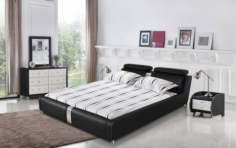 Greatime B2005 Modern Platform Bed with Adjustable Headrest