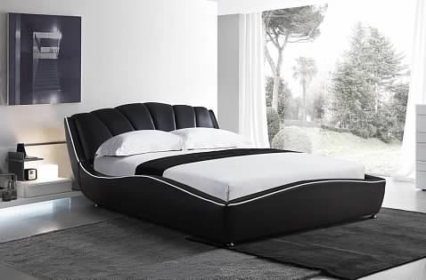 Greatime B2452  Queen Size Black Modern Bed