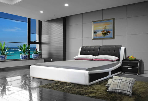 Greatime B1132 Two Tone Black& White Modern Platform Bed