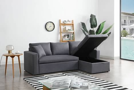 Greatime S2602 Fabric Convertible Sectional Sofa (More Colors Available)