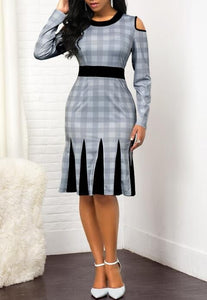 Pleated Print Hollow-Out Slim Fit Dress