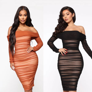 Off-Shoulder Pleated Bodycon Dress