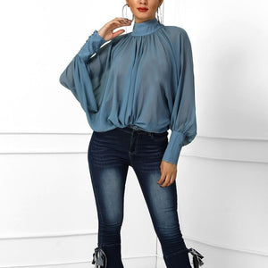 Batwing Sleeved Chiffon Blouse