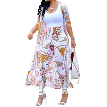Load image into Gallery viewer, Floral Print Cardigan with High Waist Pants Set