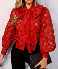 Load image into Gallery viewer, Dot Hollow-Out Lantern Sleeve Knotted Blouse