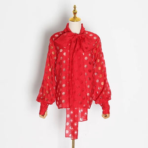 Dot Hollow-Out Lantern Sleeve Knotted Blouse