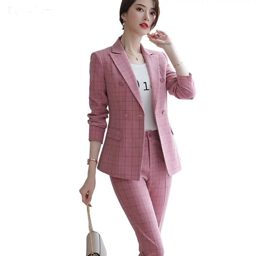 Plaid Formal Slim Fit Suit