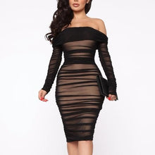Load image into Gallery viewer, Off-Shoulder Pleated Bodycon Dress
