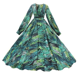 Leafy Printed Long Sleeve Tropical Maxi Dress