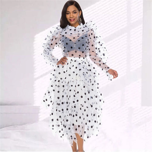 Polka Dot See-Thru Blouse-Skirt Set