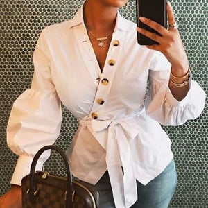 Plain Lantern Sleeve Mid-Length Blouse