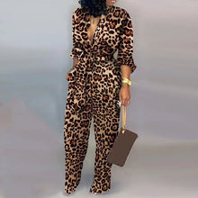 Load image into Gallery viewer, Leopard Tied Waist Long Sleeve Jumpsuit