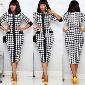 Swallow Grid Pattern Single Breasted Dress