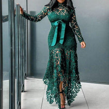 Load image into Gallery viewer, Long Sleeve High Collar Asymmetrical Sash Lace Maxi Dress