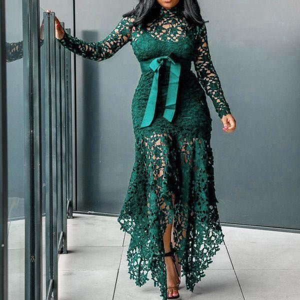 Long Sleeve High Collar Asymmetrical Sash Lace Maxi Dress