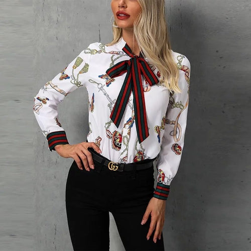 Chain Print Tied Neck Casual Blouse(Slim-Fit)