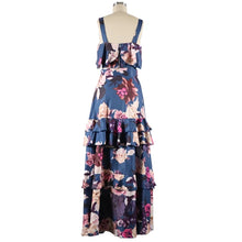 Load image into Gallery viewer, Floral Print Strap Top & Layered Ruffles Maxi Skirt Set