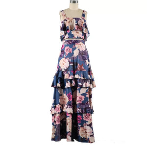 Floral Print Strap Top & Layered Ruffles Maxi Skirt Set