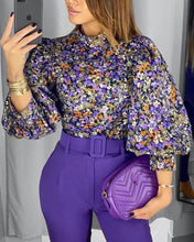 Load image into Gallery viewer, Floral Print Lantern Sleeve Blouse