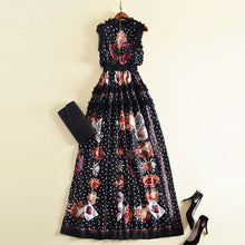 Load image into Gallery viewer, Sleeveless Embroidered High Waist Ruffle Lace Super-Long Printed Maxi dress