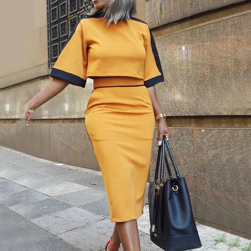 Two-Toned Short Sleeve Crop Top & Slinky Skirt Set