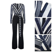 Load image into Gallery viewer, Deep V-Neck Loose Navy Blue Jumpsuit