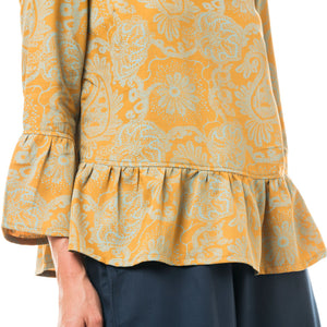 Top Scorpius cotone tencel stampa Paisley amber gold