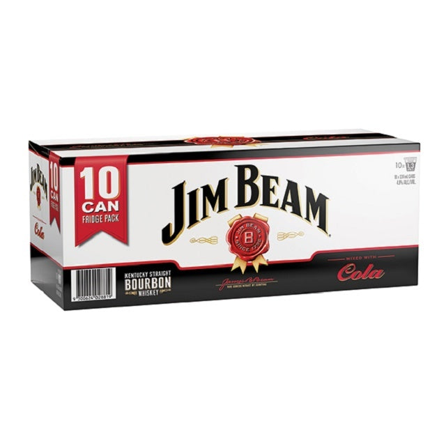 JIM BEAM & COLA 330ML Cans 10PK