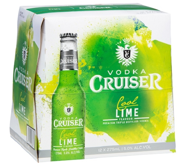 VODKA CRUISER 5% COOL LIME Bottles 12PK