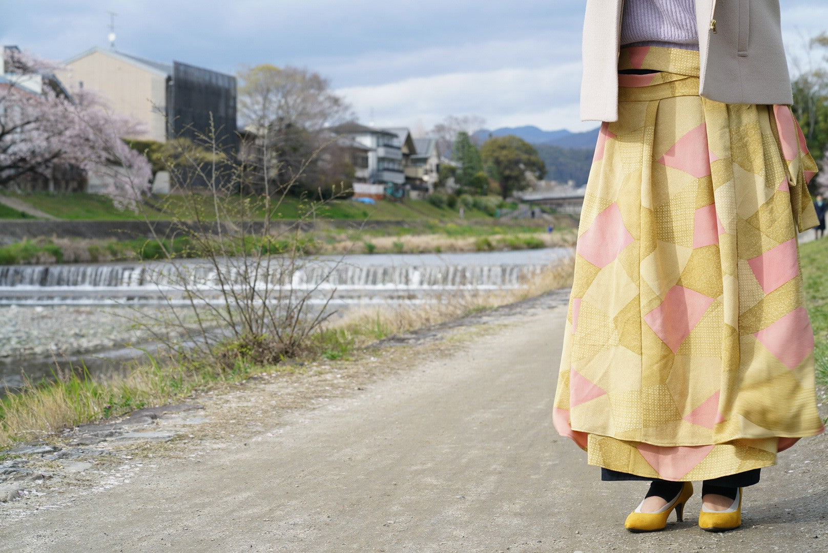 Large Wrap Skirt - Upcycled Kimono - Abstract Patterns - Gold with Geometric Symbols - Made in Kyoto - Japanese Street Fashion
