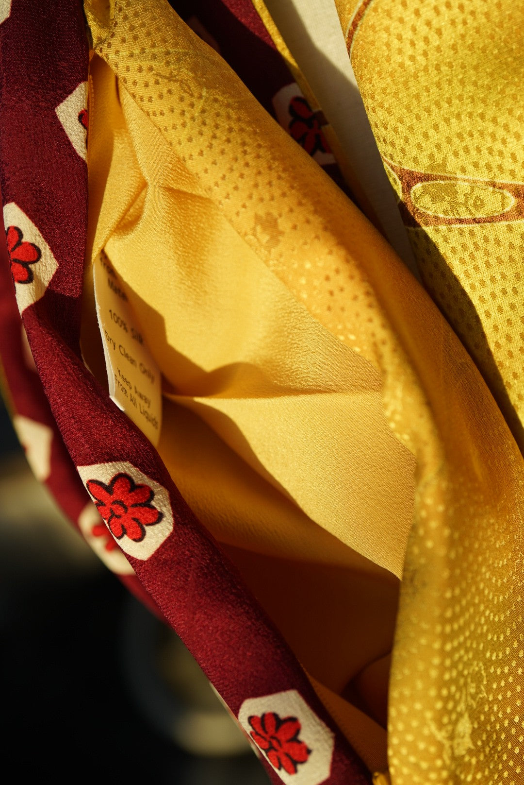 Gold, Maroon, and Red Flowers Infinity Scarf Handmade in Kyoto, Japan from Vintage Kimono - Pure Silk - Hidden Pocket