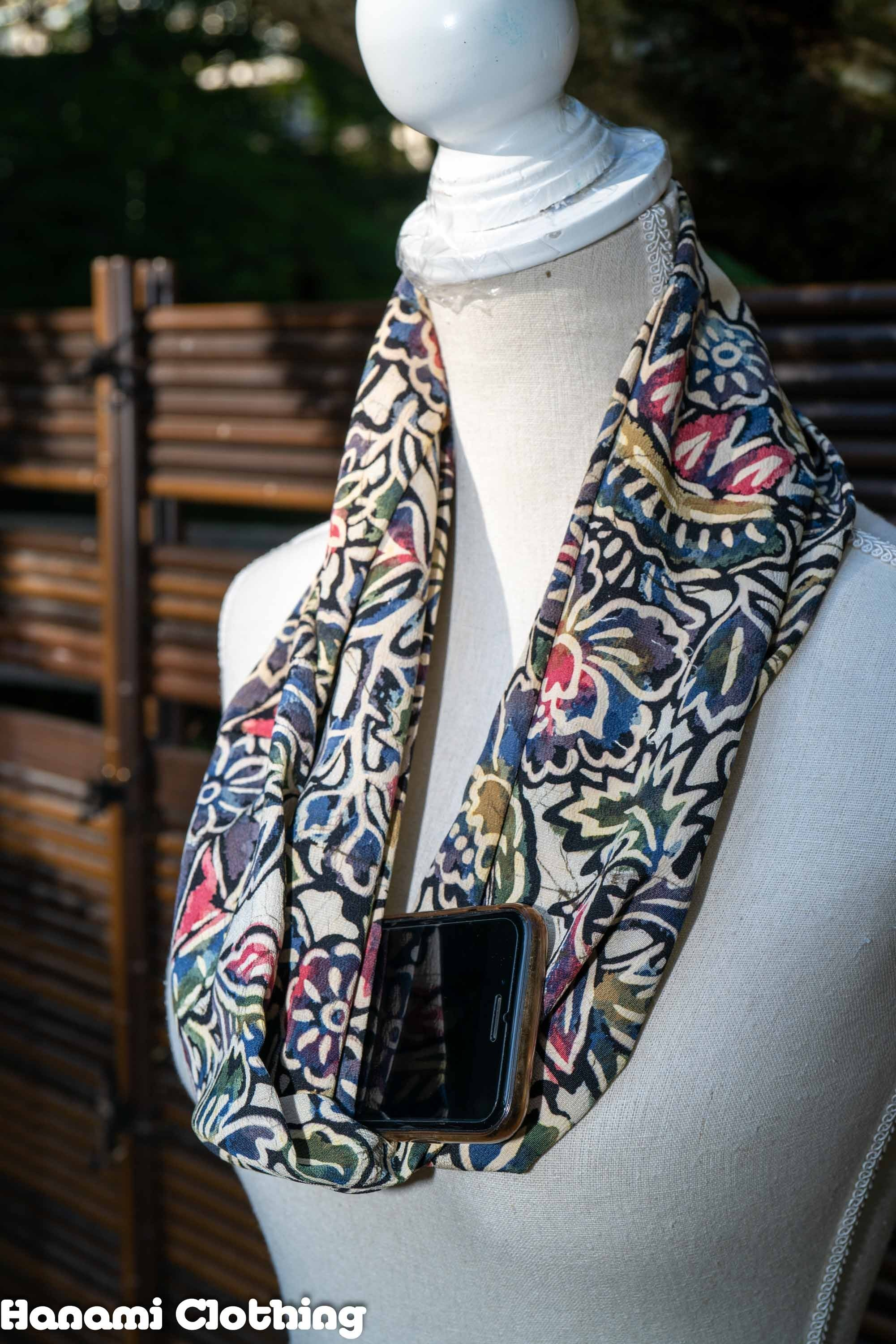 Truly Unique Upcycled Kimono Loop Scarf - Tie-Dye Style Leaves and Flowers Pattern - Rainbow Peacock Bird - Hidden Travel Pocket