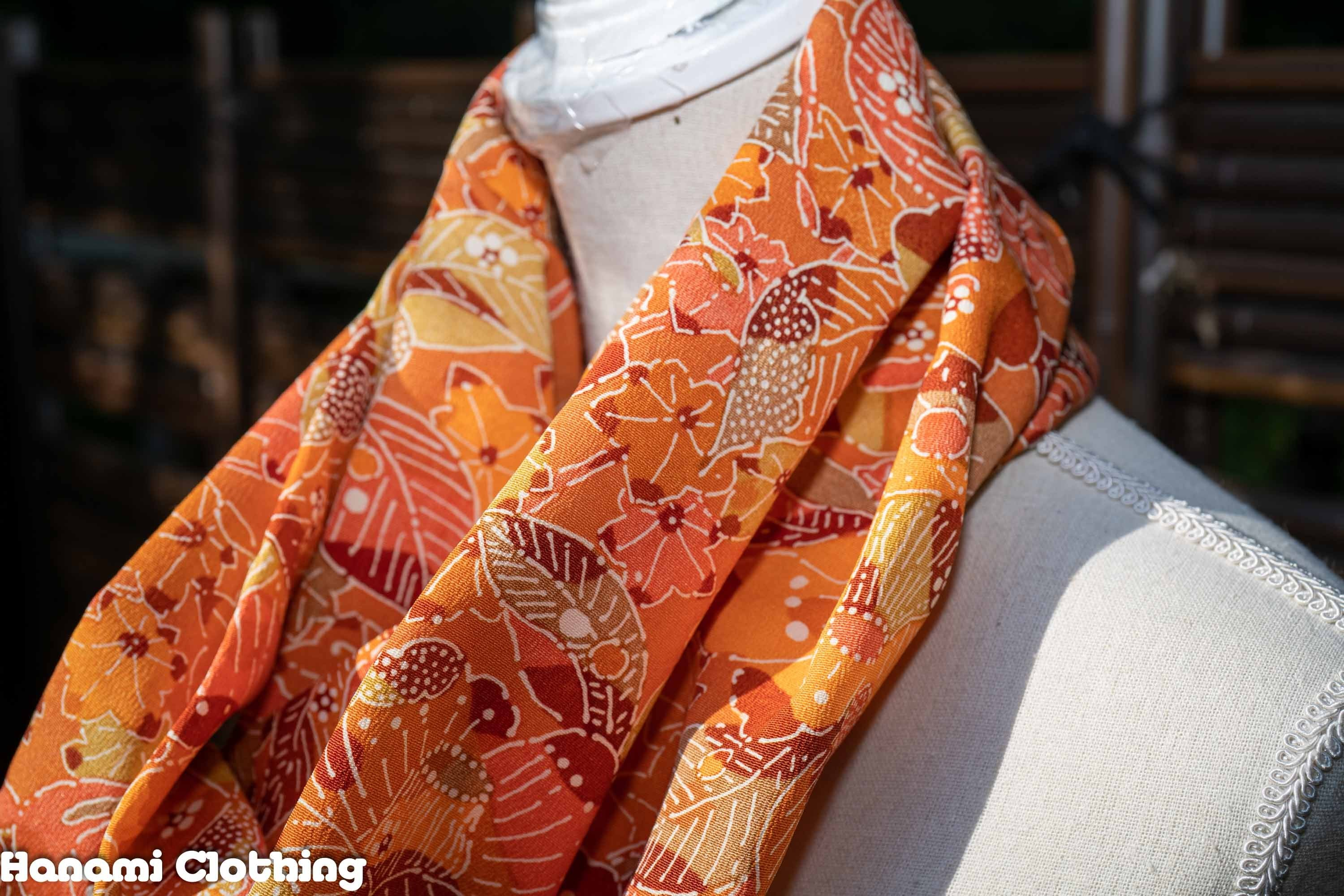 Perfect Autumn Infinity Scarf - Japanese Leaves Kimono Fabric - Orange Brown Green Red Fall Pattern - Retro Style Silk Wool