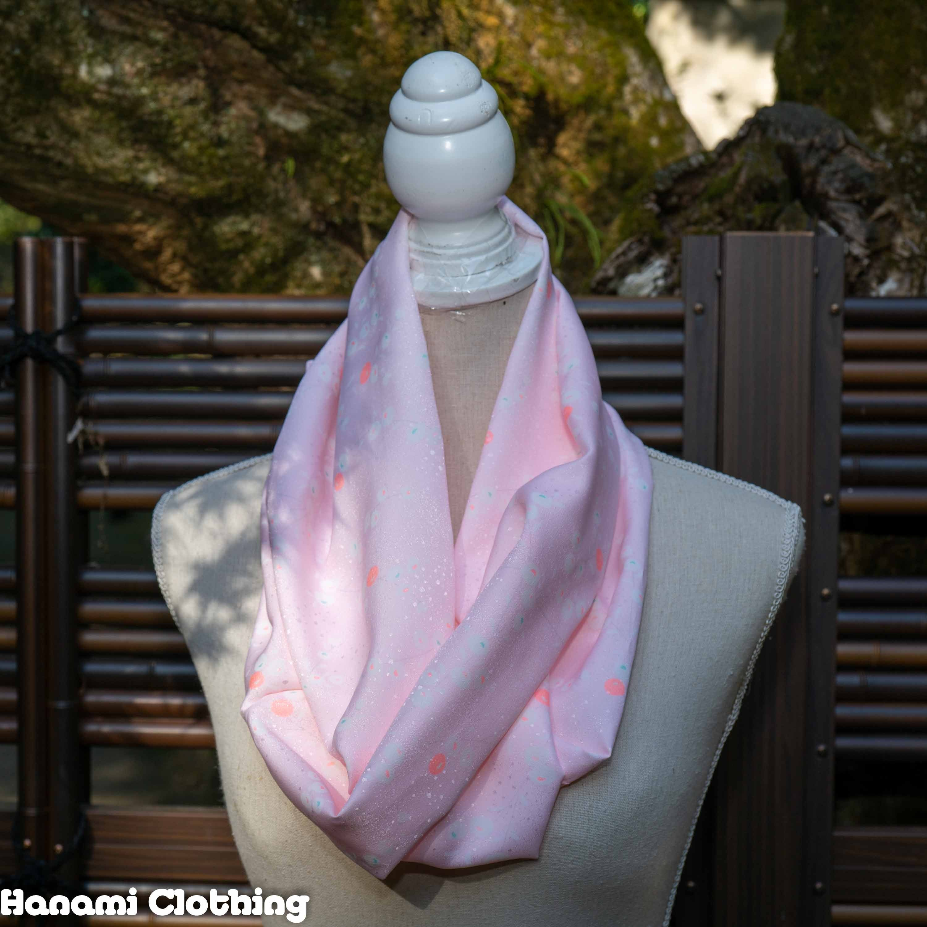 Pink and Shiny Dots Infinity Scarf - Kimono Fabric with White, Orange, and Blue Flower Design - Smooth Loop Scarf