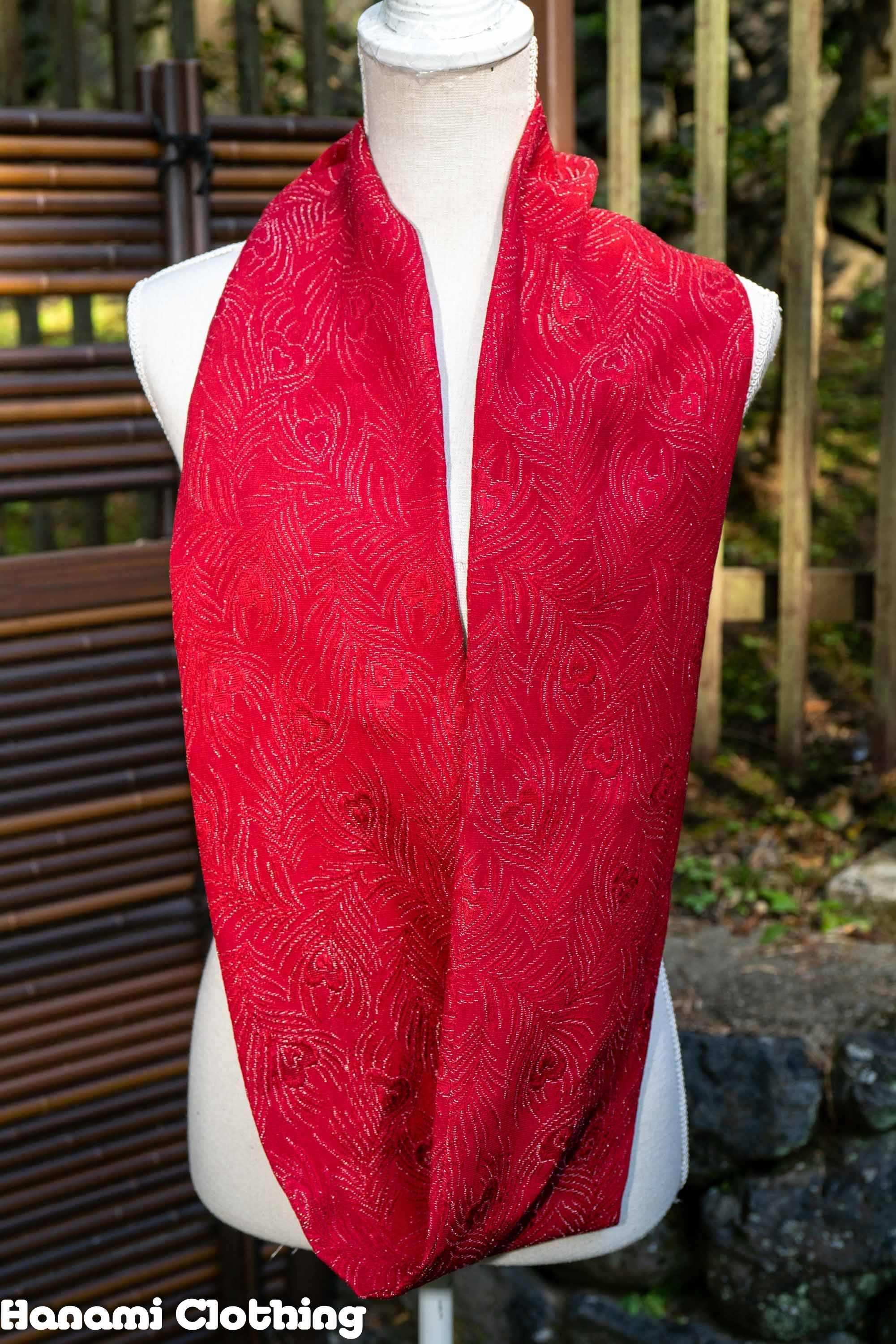 Peacock Feather Style Vintage Silk Kimono Infinity Scarf - Red with Shiny Silver Embroidery - Unique Handmade Upcycled Scarves
