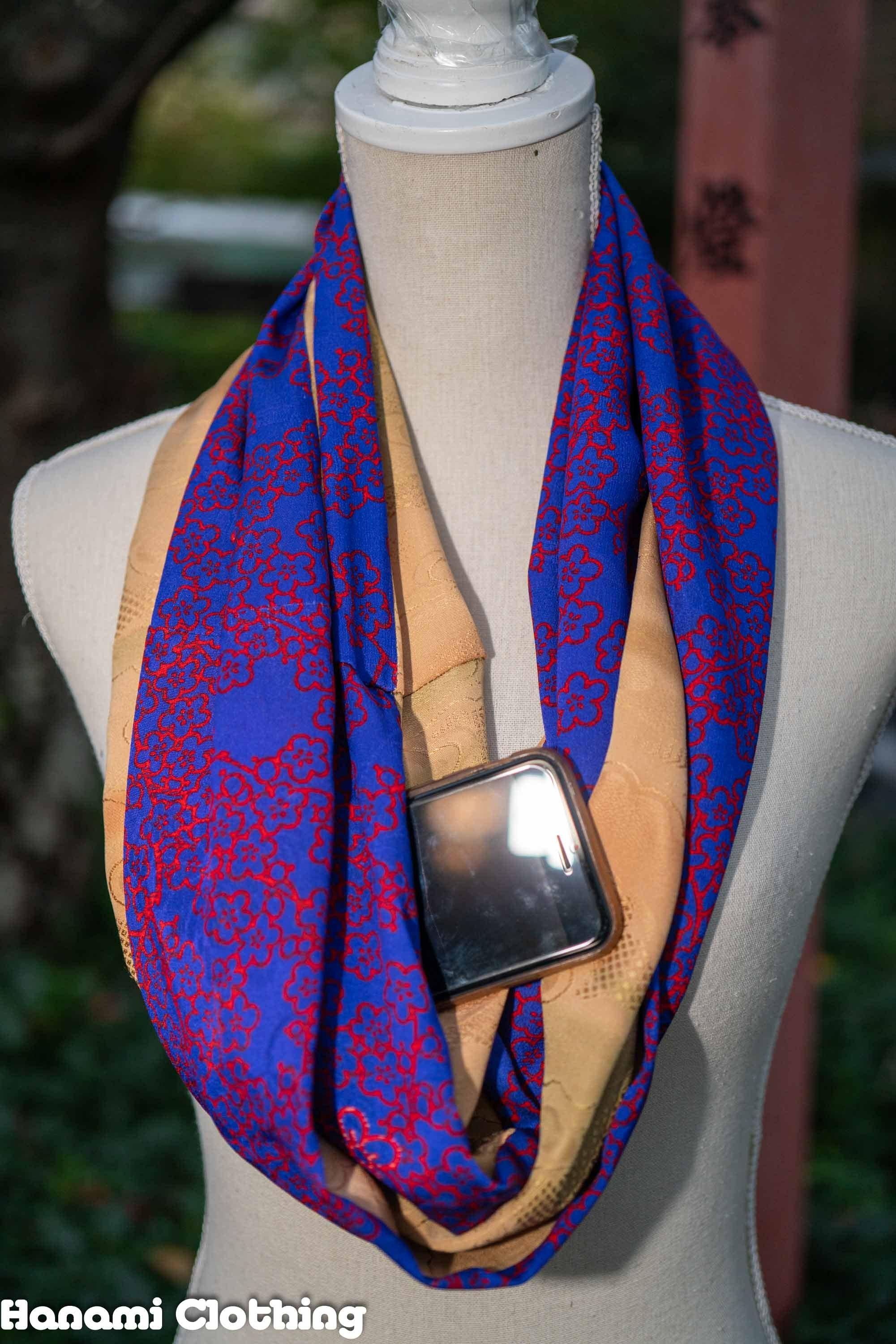 Strikingly Red Flowers on Blue with Brown Clouds Silk Upcycled Kimono Infinity Scarf Hidden Pocket Tokyo Streetwear Recycled
