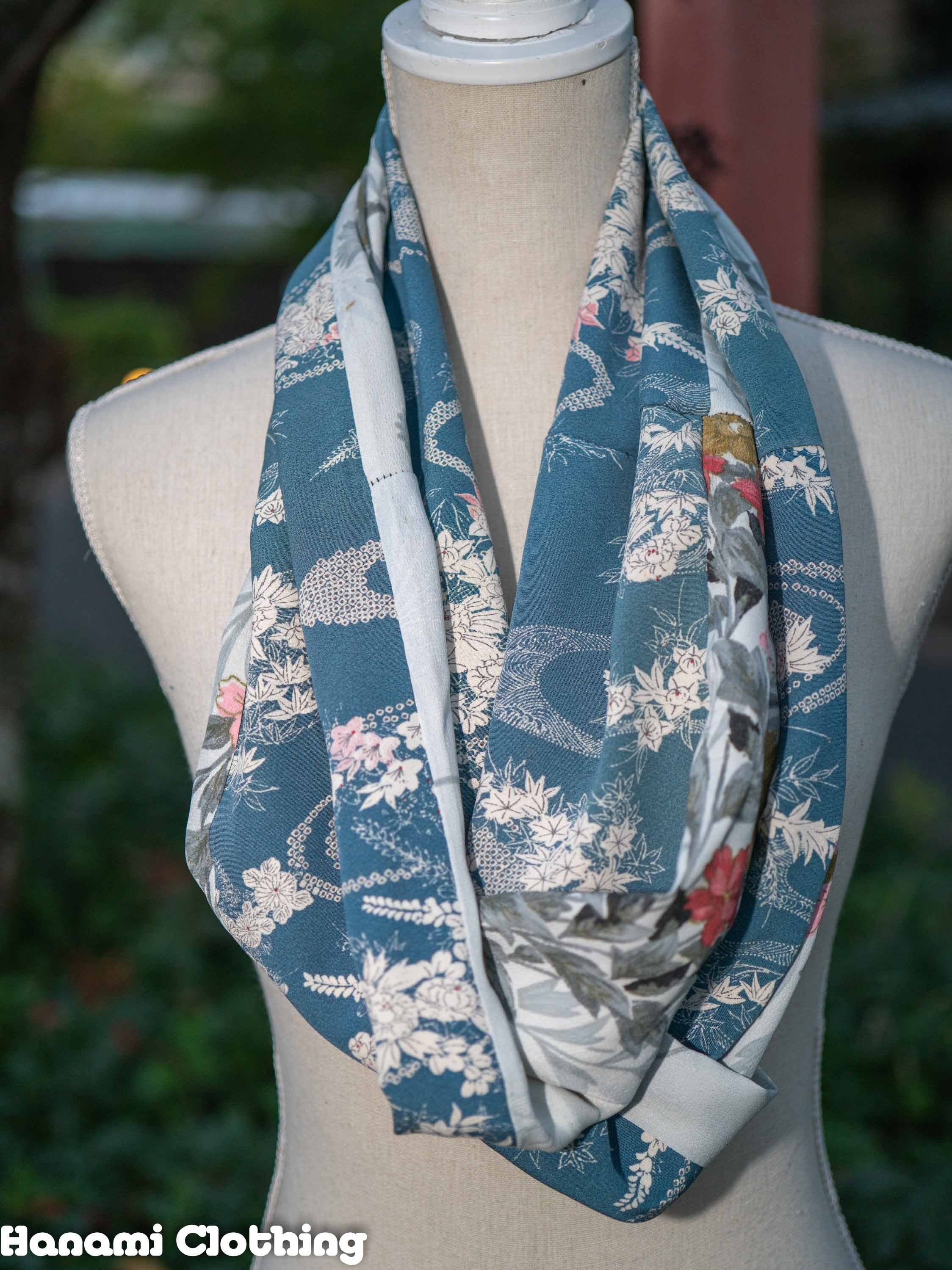 Soft Blue and Silver Sakura Chrysanthemum Recycled Infinity Scarf Vintage Kimonos Traditional Japanese Flowers Patterns Styles